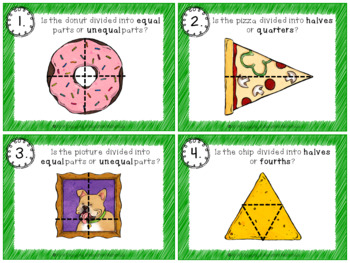 Identifying Fractions First Grade Task Cards