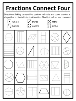 Identifying Fractions Game Fractions Roll and Color Fractions Connect Four
