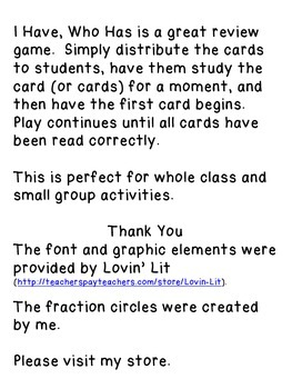 Identifying Fractions - I Have, Who Has - An Exciting Review Game