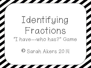 Identifying Fractions - I Have, Who Has Game