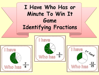 I HAVE WHO HAS Math Identifying Fractions Minute To Win It Game