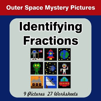 Identifying Fractions | Outer Space Math Mystery Picture Worksheets