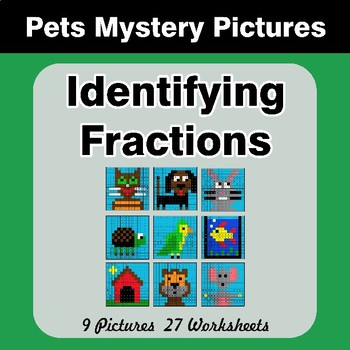 Identifying Fractions | Pets Math Mystery Picture Worksheets