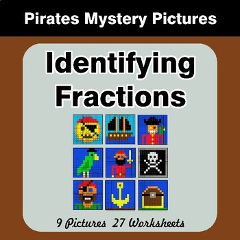 Identifying Fractions | Pirates Math Mystery Picture Worksheets