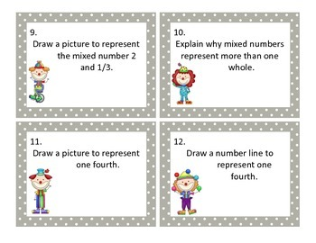 Identifying Fractions Scoot Shuffle Game CCSS 3.NF.1 and 3.NF.2 and 3.NF.3
