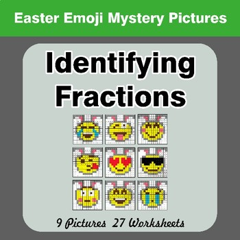 Identifying Fractions | Easter Emoji Math Mystery Picture Worksheets