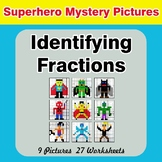 Identifying Fractions | Superhero Math Mystery Picture Worksheets
