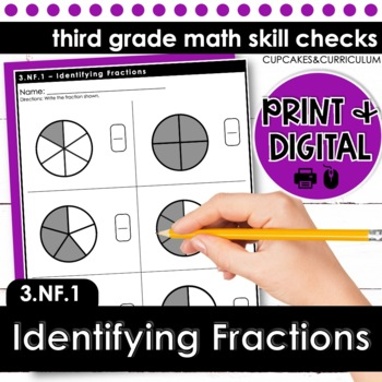 Identifying Fractions - Third Grade Print and Go