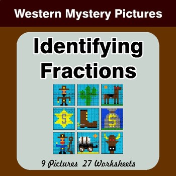 Identifying Fractions | Western Math Mystery Picture Worksheets