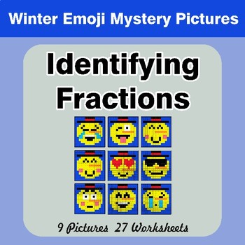 Identifying Fractions | Winter Emoji Math Mystery Picture Worksheets