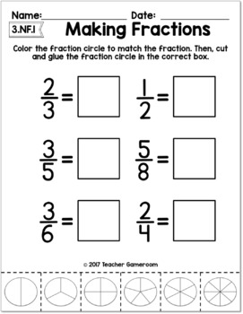 Identifying Fractions Worksheets