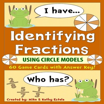 Identifying Fractions using Circle Models {I Have, Who Has Game}