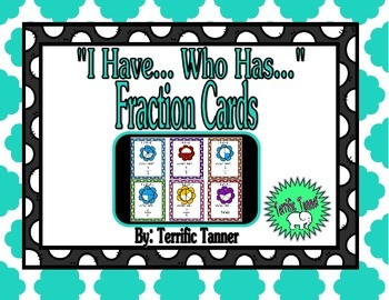 """Identifying Fractions with """"I Have..Who Has.."""" Cards"""