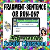 Identifying Fragments Sentences & Run-on Sentence Google Classroom Digital File