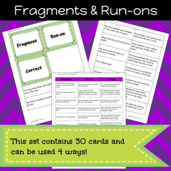 Identifying Fragments and Run-ons Game/Sort Pack