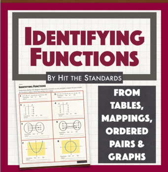 Identifying Functions (ordered pairs, mappings, tables & graphs)