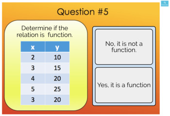 Identifying Functions  – Perfect 10 Game Boom Card Challenge – GOOGLE CLASSROOM