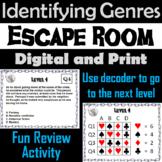 Identifying Genres Escape Room - ELA (Reading Comprehension Passages)