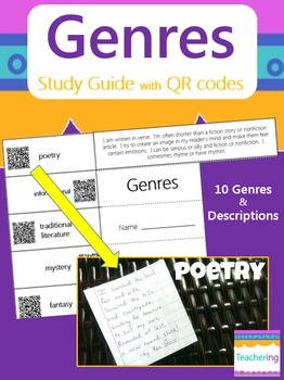 Identifying Genres Study Guide with QR Codes