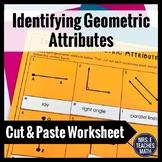 Identifying Geometric Attributes Cut and Paste Worksheet 4.G.1