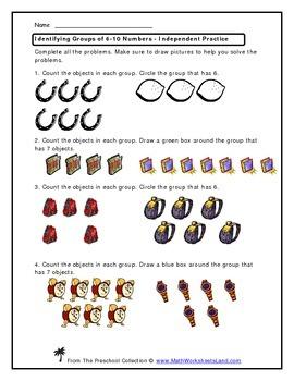 Identifying Groups of 6-10 Numbers Teacher Worksheet Pack