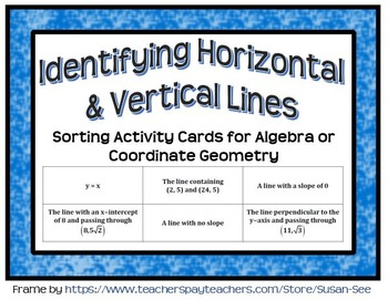 Identifying Horizontal and Vertical Lines Sorting Card Activity