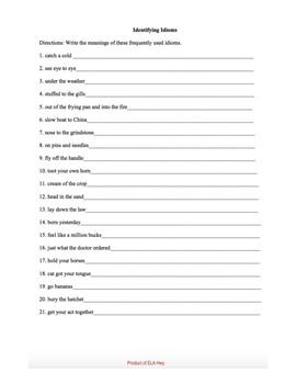 Identifying Idioms-Idiom worksheet