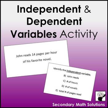 Independent and Dependent Variables Activity