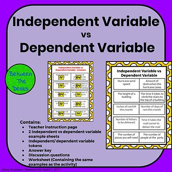 Independent And Dependent Variables Worksheet Math | TpT