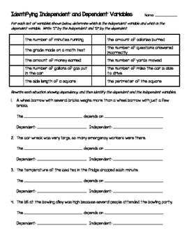 Worksheet - Identifying Independent And Dependent Variables | TpT