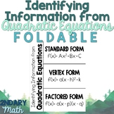 Identifying Information from Quadratic Equations Foldable