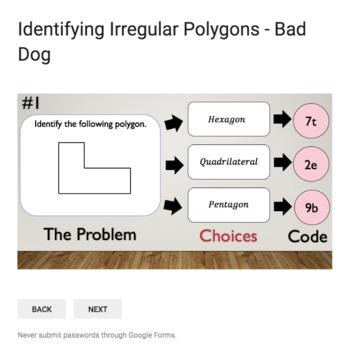 Identifying Irregular Polygons  – Bad Dog Breakout for Google Classroom!