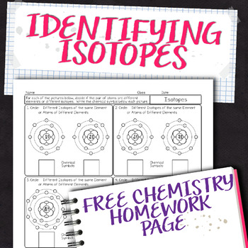 Identifying Isotopes Free Chemistry Homework Worksheet By Science
