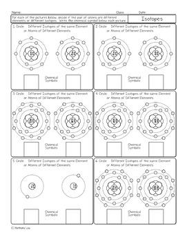 Identifying Isotopes Free Chemistry Homework Worksheet