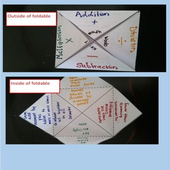 Identifying Key Math Words Sort with Foldable Grades 3-6