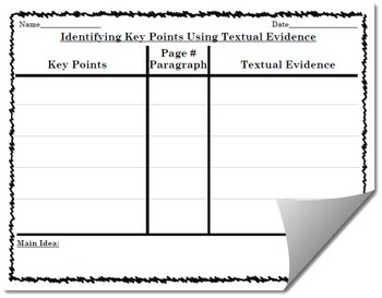 Identifying Key Points and Drawing Conclusions Using Textual Evidence Template