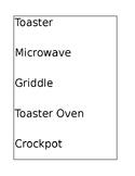 Identifying Kitchen Appliances File Folder