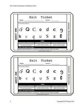 Identifying Letters Exit Tickets