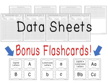 Identifying Letters & Sounds Data Sheets BONUS: Letter Flashcards Included!