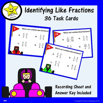 Identifying Like Fractions Task Cards