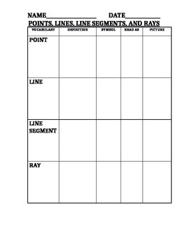 Identifying Lines Graphic Organizer
