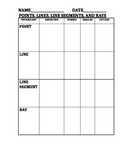 Identifying Lines Graphic Organizer