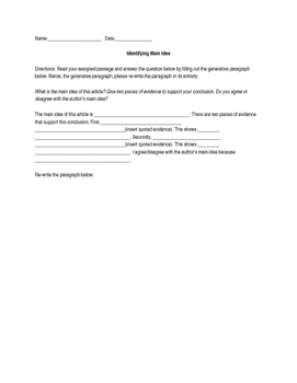 Identifying Main Idea Generative Paragraph Worksheet