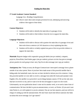 Identifying Main Idea Lesson Plan