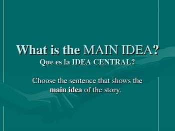 Identifying Main Idea and Details