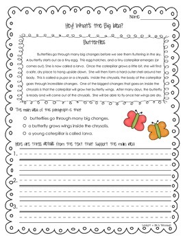 Identifying Main Idea and Details ~ Spring Has Sprung! **FREEBIE**