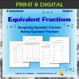 Identifying & Making Equivalent Fractions - 4 worksheets -