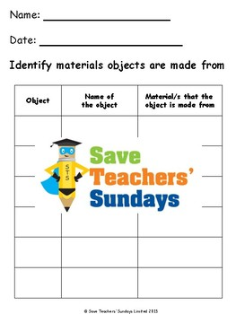 Identifying Materials Lesson plan, Poster and Worksheet
