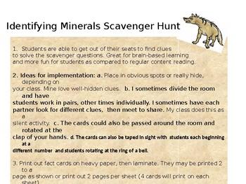 Identifying Minerals Scavenger Hunt Cootie Catcher (editable)
