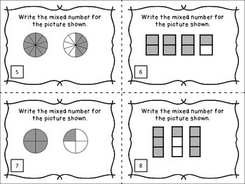 Identifying Mixed Numbers - 24 Task Cards for Math Centers and Review